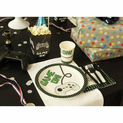 Vintage Video Game Party Dinnerware Bundle, Serves 24 Guests (144 Pieces) Perspective: back