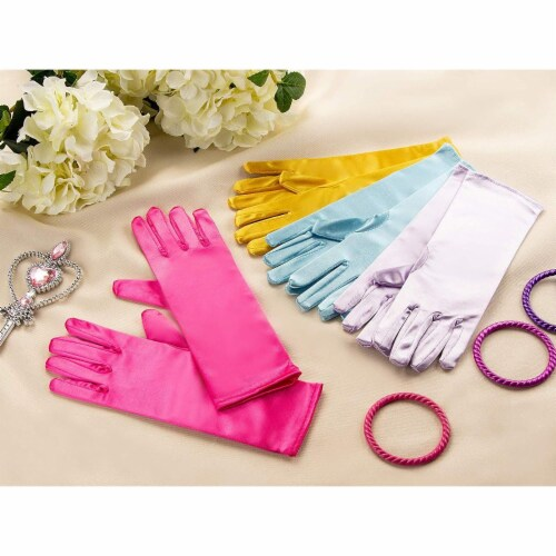 Juvale Princess Gloves for Little Girls Dress Up (4 Pairs) Perspective: back