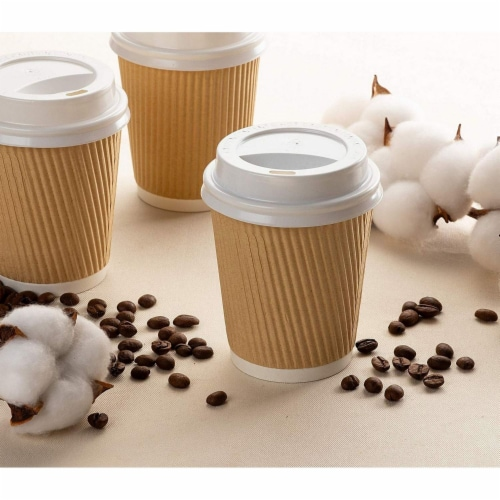 Disposable Coffee Cups Set - 50-Pack Kraft Paper 8-Ounce Insulated Ripple Cups Perspective: back