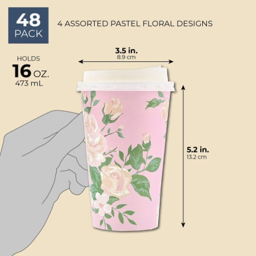 Juvale 48 Pack Vintage Floral Paper Insulated Coffee Cups with Lids, 4 Designs Perspective: back