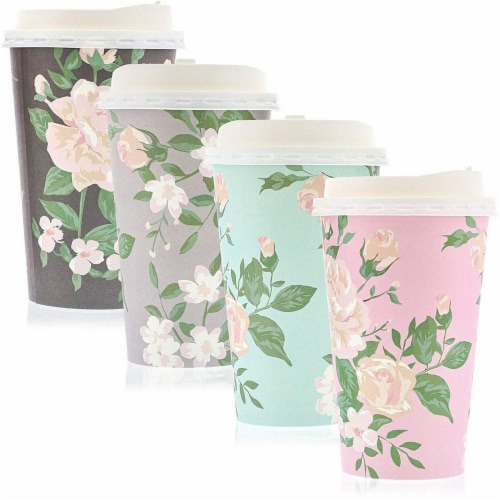 24 Pack Vintage Floral Paper Insulated Coffee Cups with Lids, 4 Designs, 16 Ounces Perspective: back