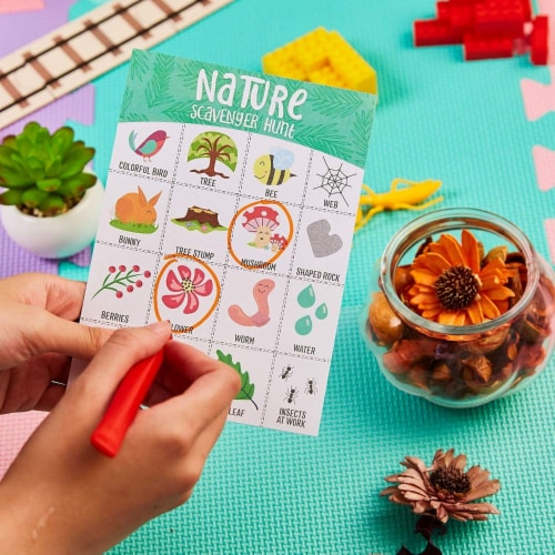 50x Nature Scavenger Hunt Game Hunt Set for Kids Childrens Outdoor Game Cards Perspective: back