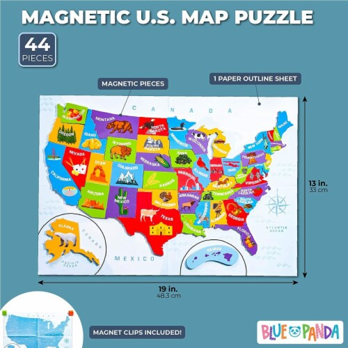 Juvale 44pcs Magnetic U.S. Puzzle Map for Kids, 19 x 13 Inches Perspective: back