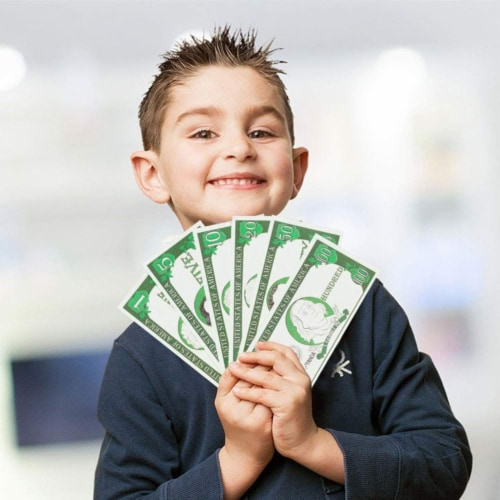 Play Money for Kids, 300 Pcs Learning Money with Canvas Bag for Counting Money Perspective: back