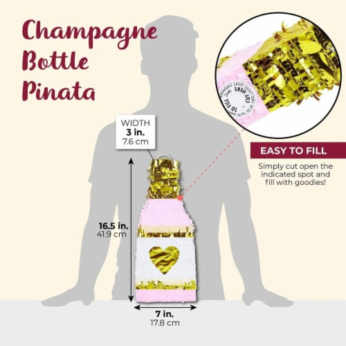 Champagne Bottle Party Pinata with Gold Foil (Pink, White, 16.5 x 7 x 3 Inches) Perspective: back