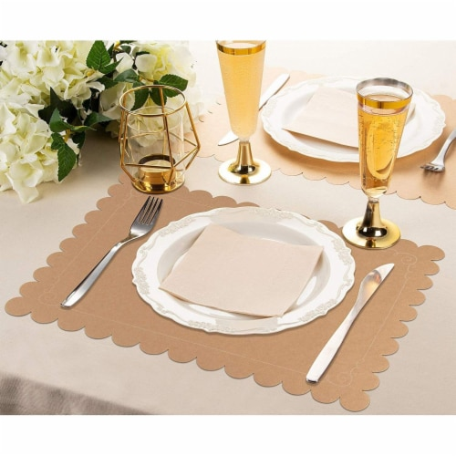 Juvale 100 Pack Disposable Placemats with Scallop Edge, Brown Kraft Paper (10 x 14 in) Perspective: back