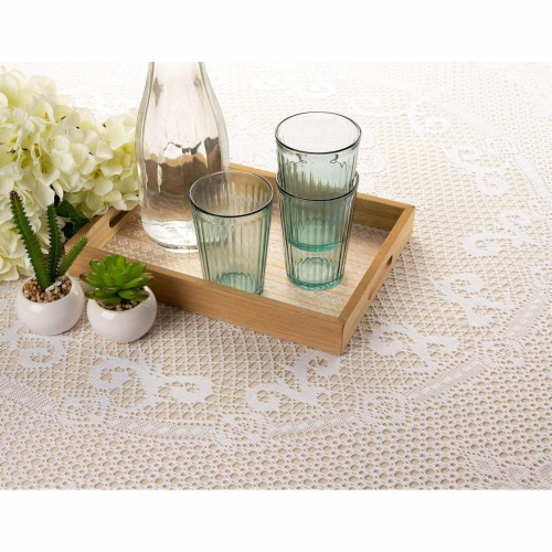 Round 71-Inch Decorative Lace Tablecloth with Floral Patterns for Birthday Parties, White Perspective: back