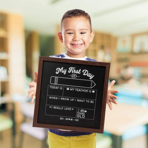 First and Last Day of School Chalkboard Sign, Teacher Classroom Supplies (2 Pieces) Perspective: back