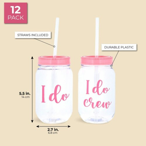 I Do Crew Plastic Mason Jar for Bachelorette Party and Bridal Shower (11+1) Perspective: back