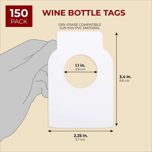 Juvale 150-Pack Blank Reusable Wine Cellar Bottle Label Tags, 3.5 x 2 Inches Perspective: back