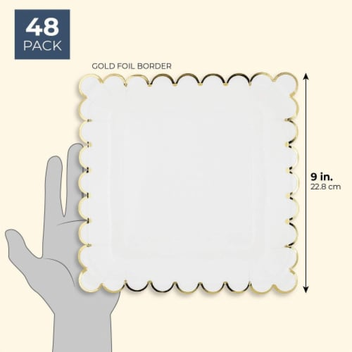 Juvale Blue Panda 48-Count White Party Paper Plates with Scalloped Gold Foil Edge, 9 Inches Perspective: back