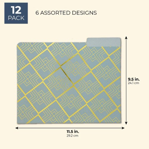 Geometric Decorative File Folders with 1/3 Cut Tab (11.5 x 9.5 In, 12 Pack) Perspective: back