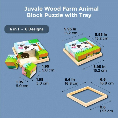 Wood Farm Animal Block Puzzles with Tray for Toddlers Kids (6 in 1), 6 Designs Perspective: back