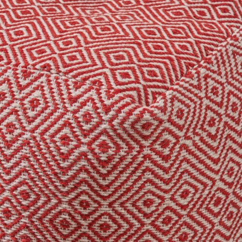 Adkins Indoor Modern Boho Pouf, Ivory with Red Perspective: back