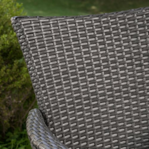 Frank Outdoor 3 Piece Wicker Bistro Set, Grey with Silver Cushions Perspective: back