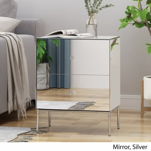 Althea Modern Mirrored Two Drawer Cabinet Perspective: back