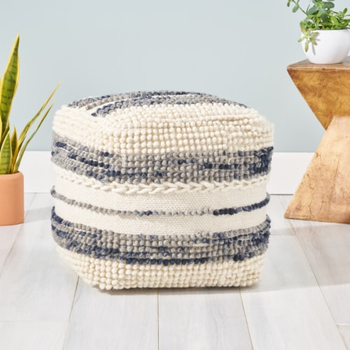 Christal Contemporary Wool and Cotton Pouf Ottoman Perspective: back