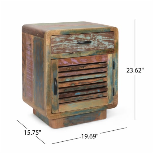 Emily Handcrafted Boho Reclaimed Wood Cabinet Perspective: back