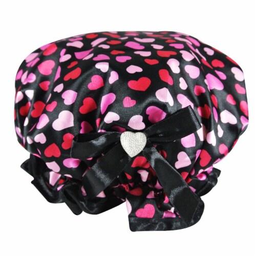 Kella Milla Stylish Satin Shower Cap, Hearts & Black Bow Perspective: back