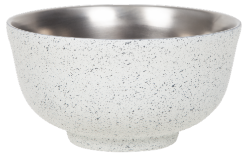 Fifty/Fifty Insulated Speckled Bowl with Lid - White/Blue Perspective: back