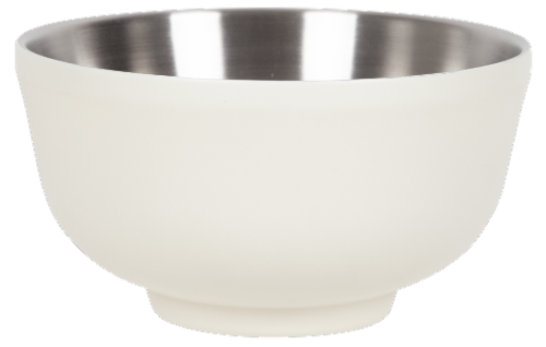 Fifty/Fifty Double Wall Vacuum Insulated Bowl with Lid - White Perspective: back