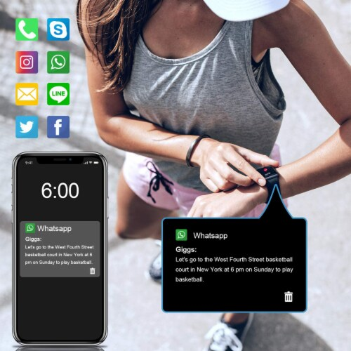 Letsfit ID205L Smartwatch Heart Rate & Activity Monitor - Black Perspective: back