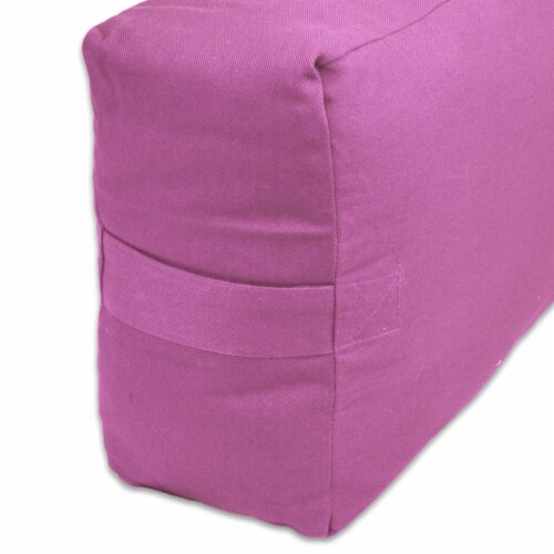 Yoga Accessories Max Support Deluxe Rectangular Travel Cotton Yoga Bolster, Pink Perspective: back