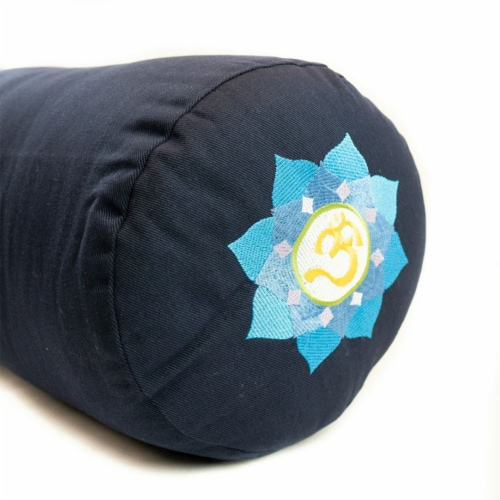 Yoga Accessories Supportive Round Cotton Yoga Bolster Pillow, Blue Embroidered Perspective: back