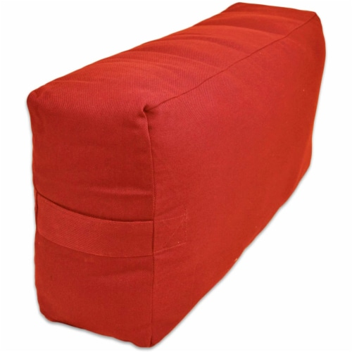 Yoga Accessories Supportive Rectangular Travel Cotton Yoga Bolster, Cardinal Red Perspective: back