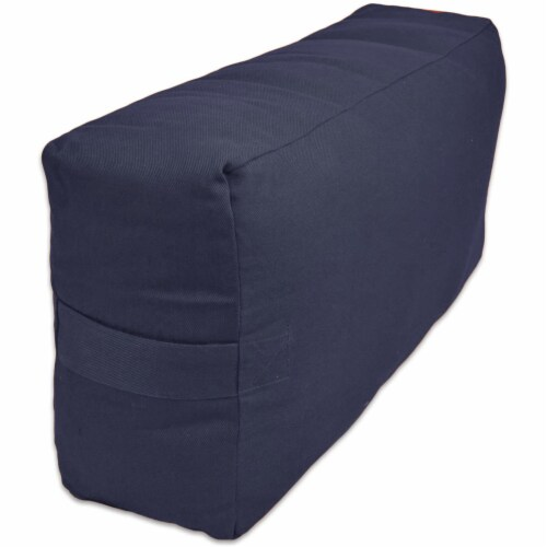 Yoga Accessories Max Support Deluxe Rectangular Travel Cotton Yoga Bolster, Blue Perspective: back