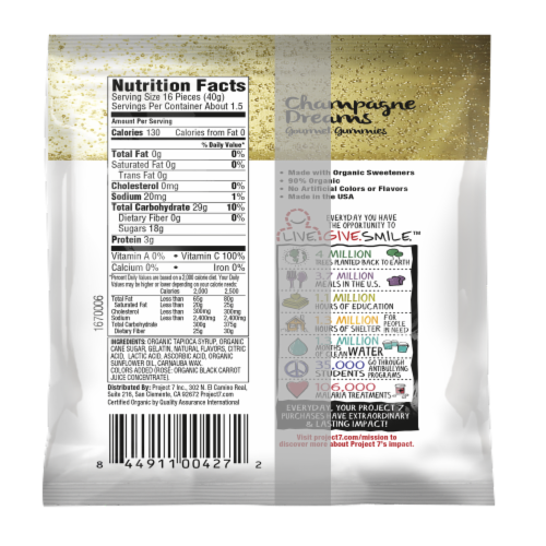 Project 7 Brut & Rose Champagne Dreams Gourmet Gummies Perspective: back