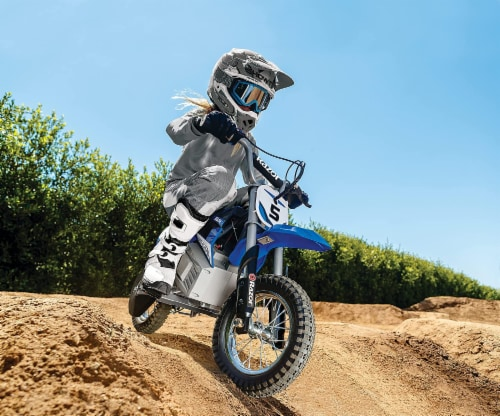 Razor MX350 Dirt Rocket 24V Electric Toy Motocross Blue Motorcycle Dirt Bike Perspective: back