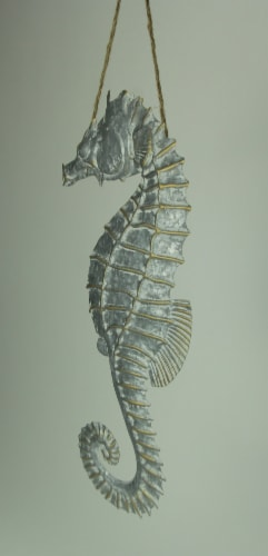 Galvanized Embossed Metal Art Seahorse Wall Decor Perspective: back