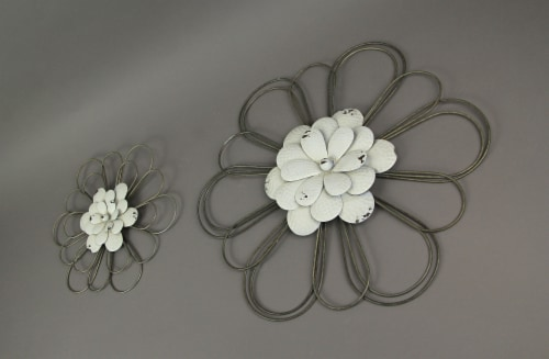 Set of 2 White Metal Flower Wall Art Rustic Hanging Home Decor Distressed Sculpture Perspective: back