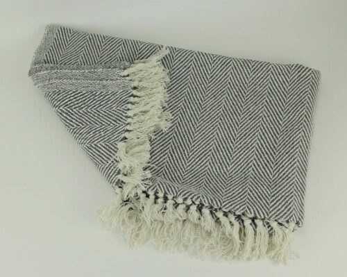 2-Tone Cotton Zig Zag Striped Fringed Throw Blanket, White/Grey - Gray Perspective: back