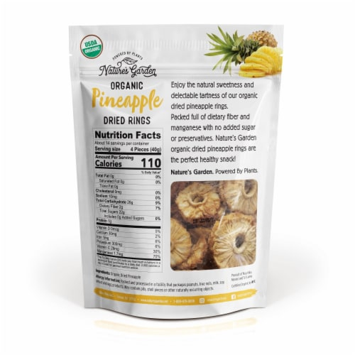 Nature's Garden Organic Pineapple Dried Rings 20 oz Perspective: back