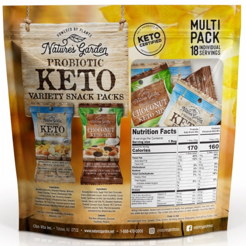 Nature's Garden Probiotic Keto Variety Snack Packs 1 oz (Pack of 18) Perspective: back