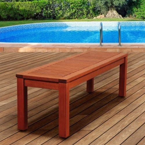 International Home Amazonia Outdoor Bench in Brown Perspective: back