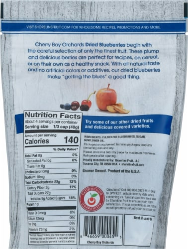 Cherry Bay Orchards® Gluten Free Dried Blueberries Perspective: back