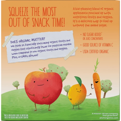 Plum Organics Applesauce Mashups with Carrot & Mango 4 Count Perspective: back