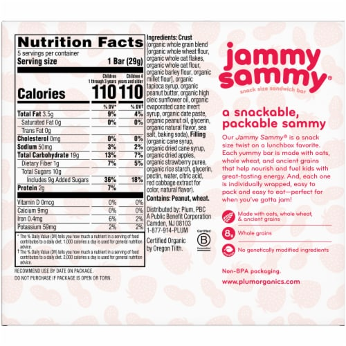Plum Organics Peanut Butter & Strawberry Snack Size Sandwich Bar Perspective: back