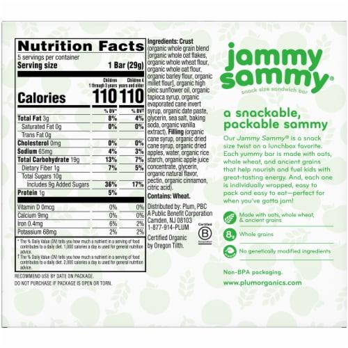 Plum Organics Jammy Sammy Apple Cinnamon & Oatmeal Snack Size Sandwich Bars Perspective: back