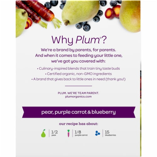 Plum Organics Pear Purple Carrot & Blueberry Stage 2 Baby Food Perspective: back