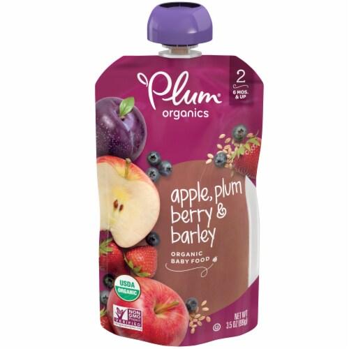 Plum Organics Apple Plum Berry & Barley Fruit & Grain Stage 2 Baby Food Perspective: back