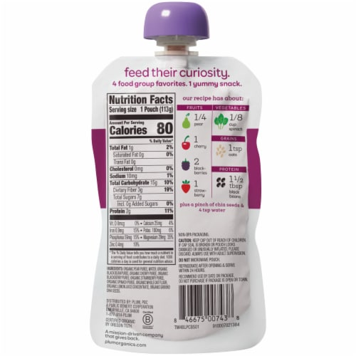 Plum Organics® Mighty 4® Blends Tots Food Pouch Perspective: back