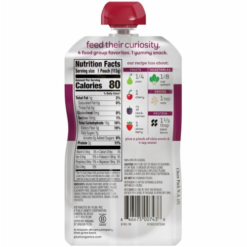 Plum Organics Tots Mighty 4 Food Group Blend Perspective: back