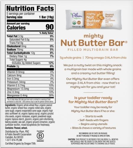 Plum Organics Peanut Butter Mighty Nut Butter Bar 5 Count Perspective: back