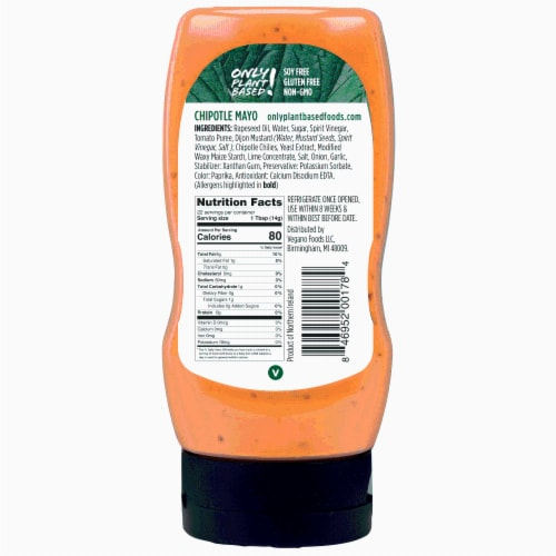 Only Plant Based Vegan Chipotle Mayonnaise, Squeeze Bottle, 11 Fl Oz Perspective: back