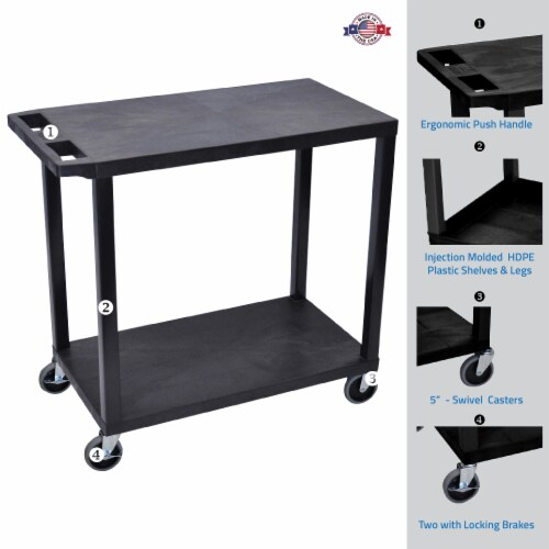 Luxor Black 32 x18 , Cart with 2 Flat Shelves Perspective: back