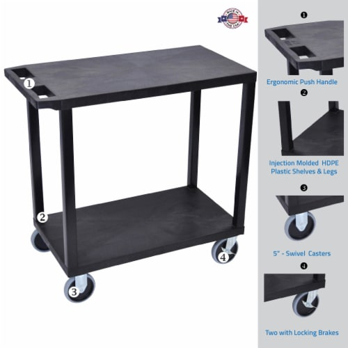 Luxor Black  18x32, Cart with 2 Flat Shelves Perspective: back